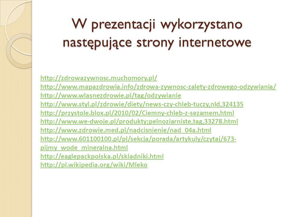 W prezentacji wykorzystano następujące strony internetowe