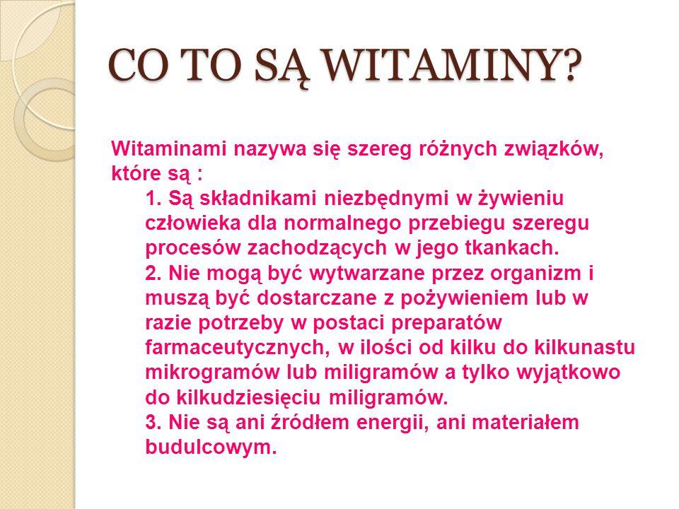 CO TO SĄ WITAMINY Witaminami nazywa się szereg różnych związków, które są :