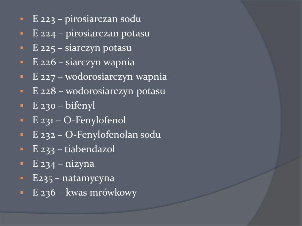 E 223 – pirosiarczan sodu E 224 – pirosiarczan potasu. E 225 – siarczyn potasu. E 226 – siarczyn wapnia.