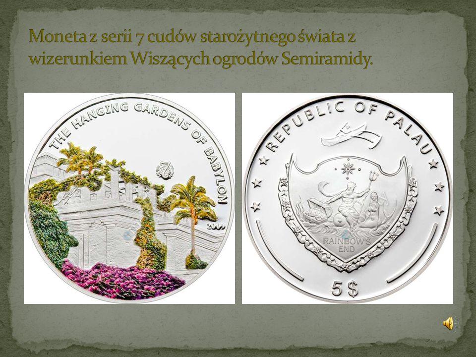 Moneta z serii 7 cudów starożytnego świata z wizerunkiem Wiszących ogrodów Semiramidy.