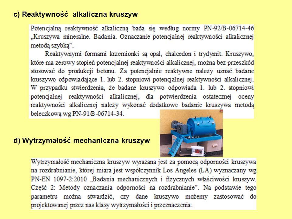 c) Reaktywność alkaliczna kruszyw