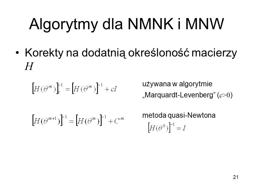 Algorytmy dla NMNK i MNW