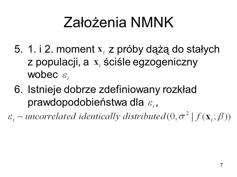 Założenia NMNK 1. i 2. moment z próby dążą do stałych z populacji, a ściśle egzogeniczny wobec.
