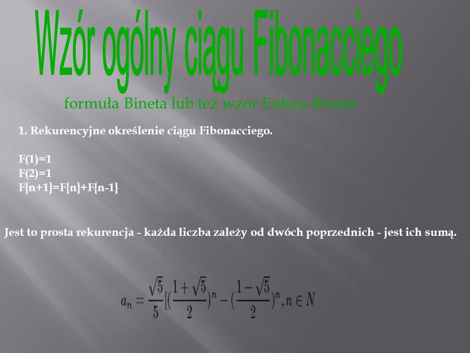 Wzór ogólny ciągu Fibonacciego