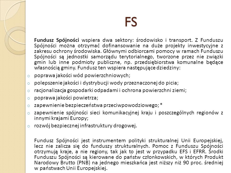 FS poprawa jakości wód powierzchniowych;