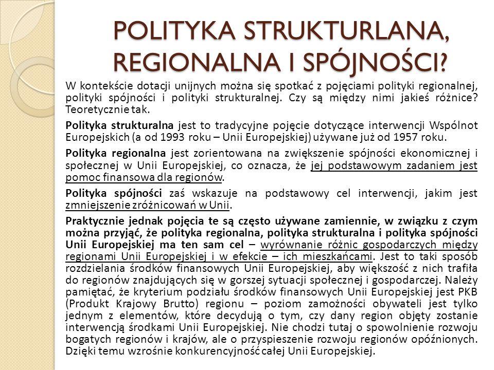 POLITYKA STRUKTURLANA, REGIONALNA I SPÓJNOŚCI