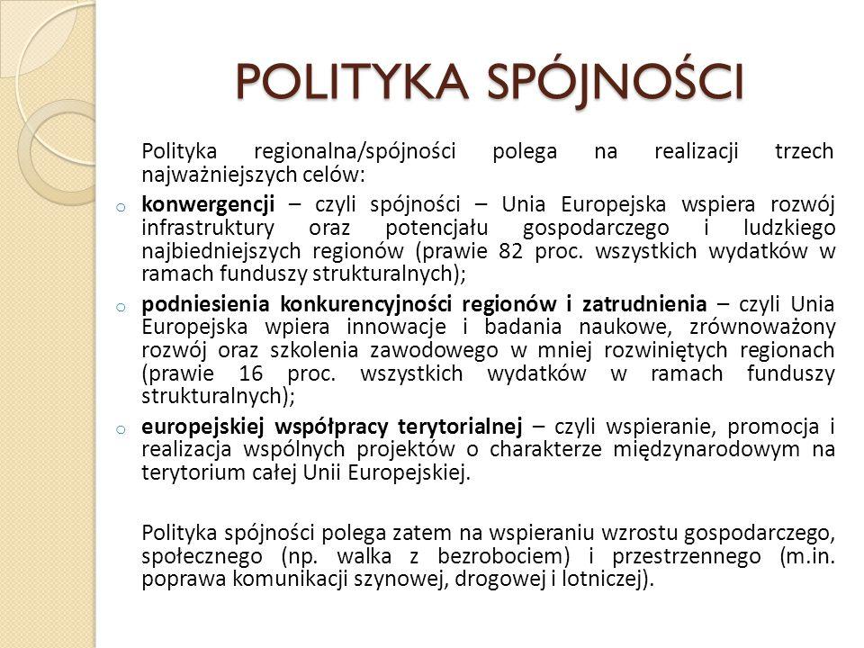 POLITYKA SPÓJNOŚCI Polityka regionalna/spójności polega na realizacji trzech najważniejszych celów: