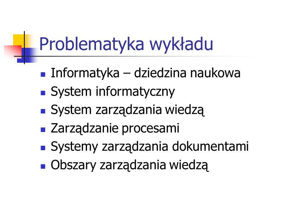 Problematyka wykładu Informatyka – dziedzina naukowa