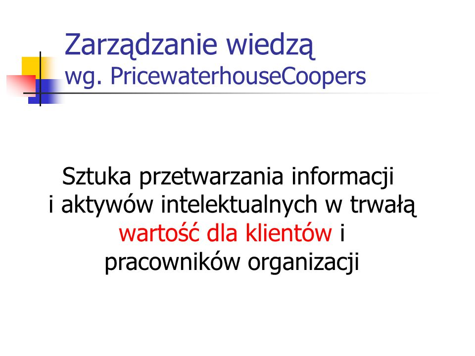 Zarządzanie wiedzą wg. PricewaterhouseCoopers