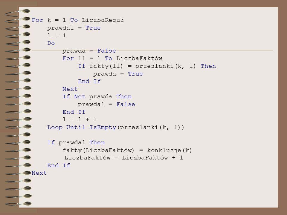 For k = 1 To LiczbaReguł prawda1 = True. l = 1. Do. prawda = False. For ll = 1 To LiczbaFaktów.