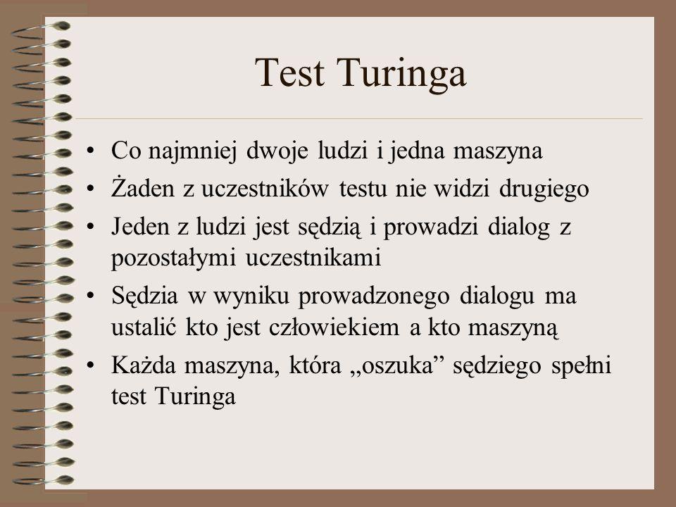 Test Turinga Co najmniej dwoje ludzi i jedna maszyna