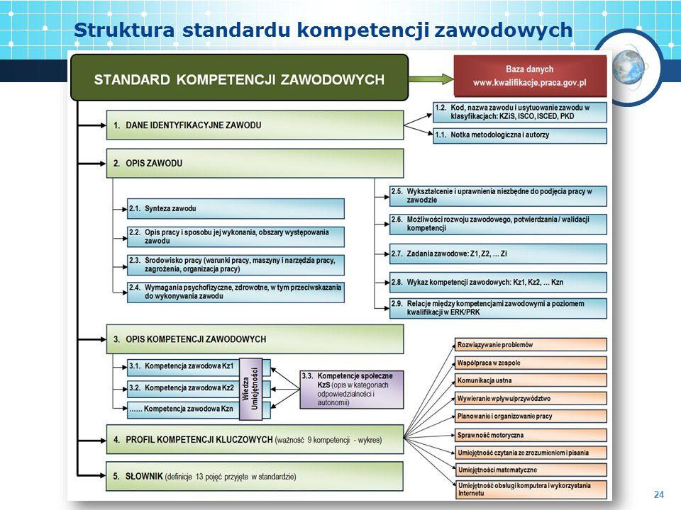 Struktura standardu kompetencji zawodowych