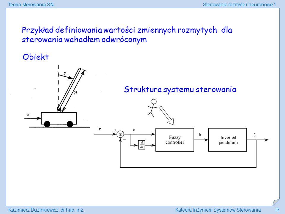 Przykład definiowania wartości zmiennych rozmytych dla sterowania wahadłem odwróconym