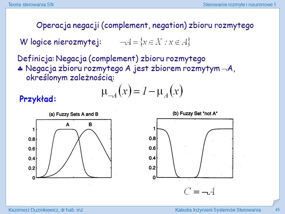 Operacja negacji (complement, negation) zbioru rozmytego
