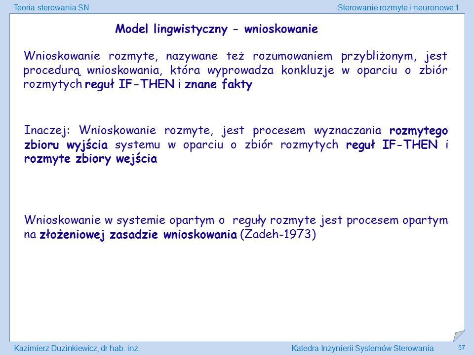 Model lingwistyczny - wnioskowanie