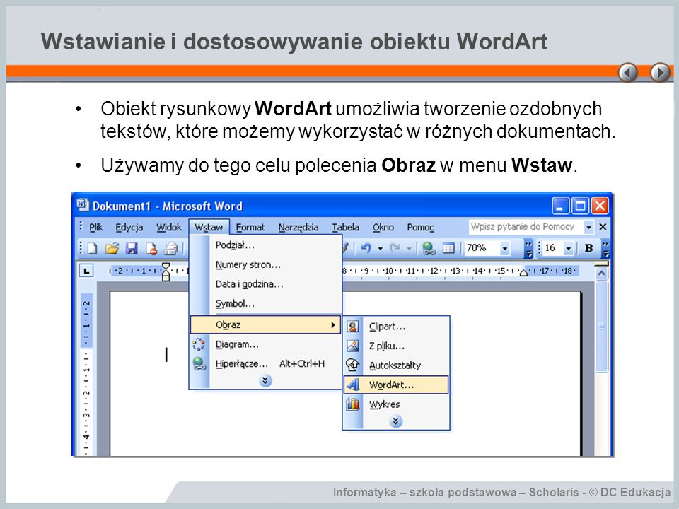 Wstawianie i dostosowywanie obiektu WordArt