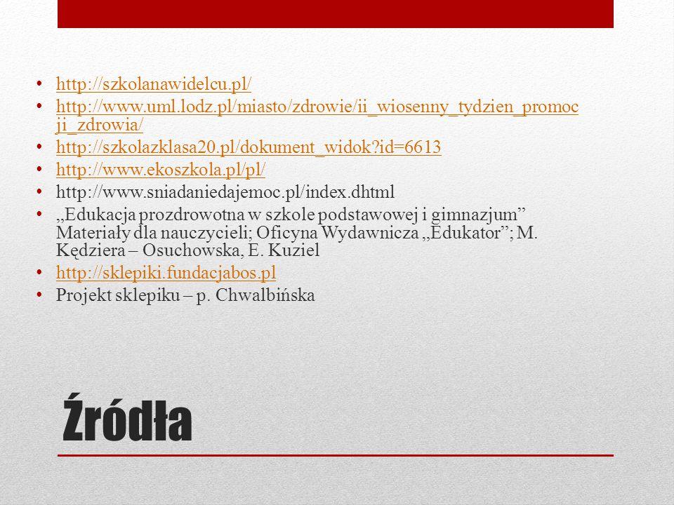 Źródła http://szkolanawidelcu.pl/