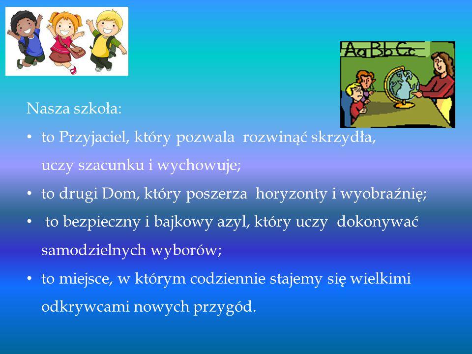 Nasza szkoła: to Przyjaciel, który pozwala rozwinąć skrzydła, uczy szacunku i wychowuje;