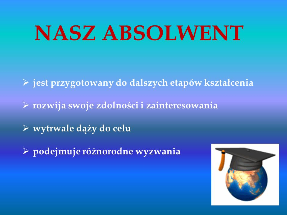 NASZ ABSOLWENT jest przygotowany do dalszych etapów kształcenia