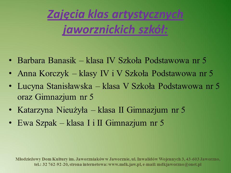 Zajęcia klas artystycznych jaworznickich szkół: