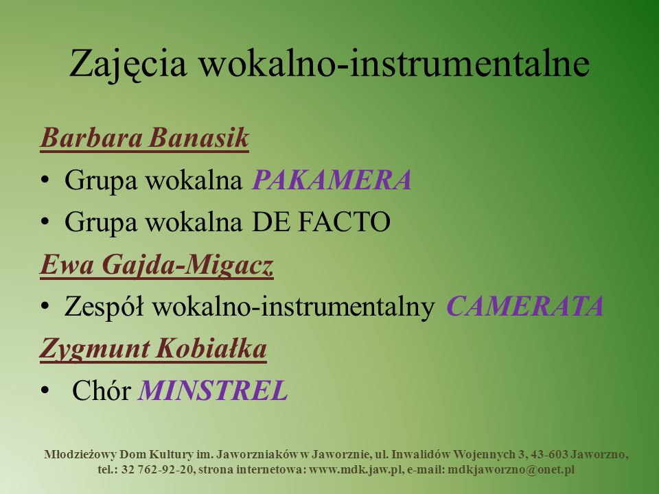 Zajęcia wokalno-instrumentalne