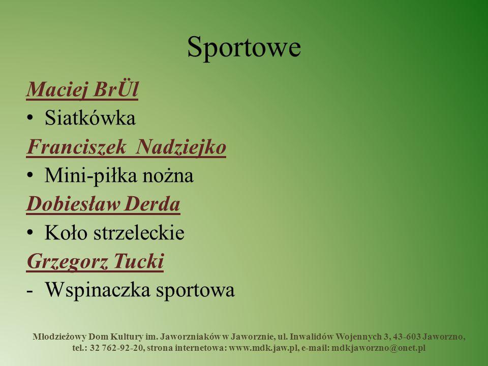 Sportowe Maciej BrÜl Siatkówka Franciszek Nadziejko Mini-piłka nożna