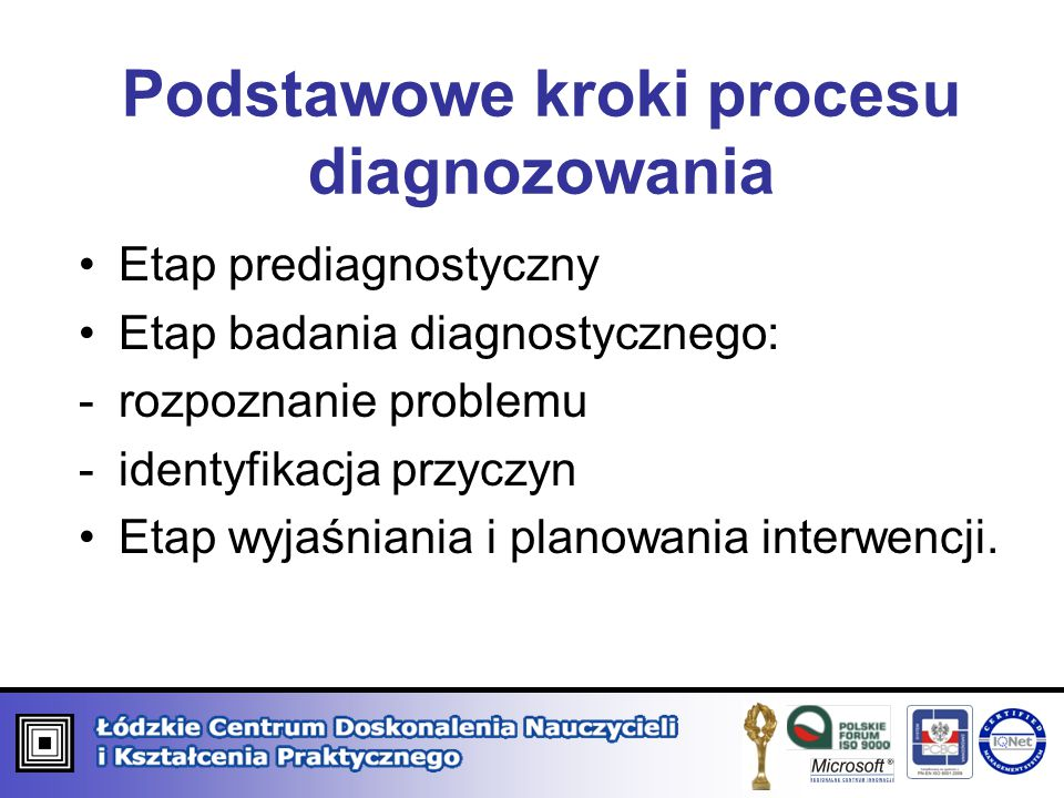 Podstawowe kroki procesu diagnozowania