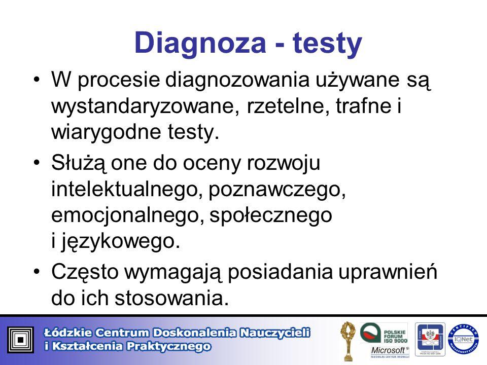 Diagnoza - testy W procesie diagnozowania używane są wystandaryzowane, rzetelne, trafne i wiarygodne testy.