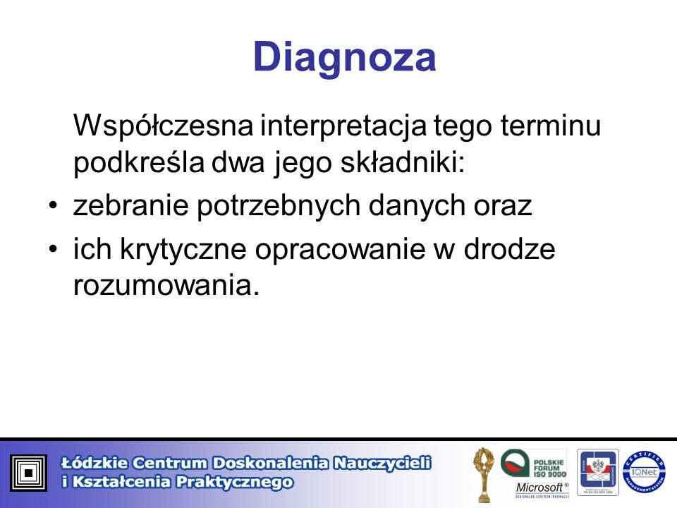 Diagnoza Współczesna interpretacja tego terminu podkreśla dwa jego składniki: zebranie potrzebnych danych oraz.