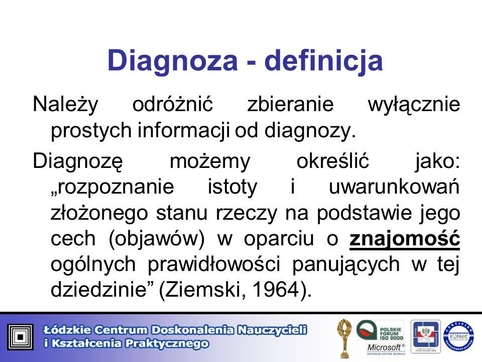 Diagnoza - definicja Należy odróżnić zbieranie wyłącznie prostych informacji od diagnozy.