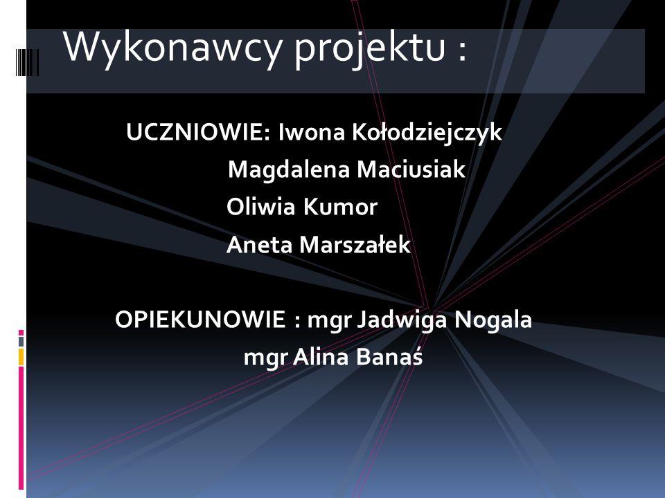Wykonawcy projektu : UCZNIOWIE: Iwona Kołodziejczyk