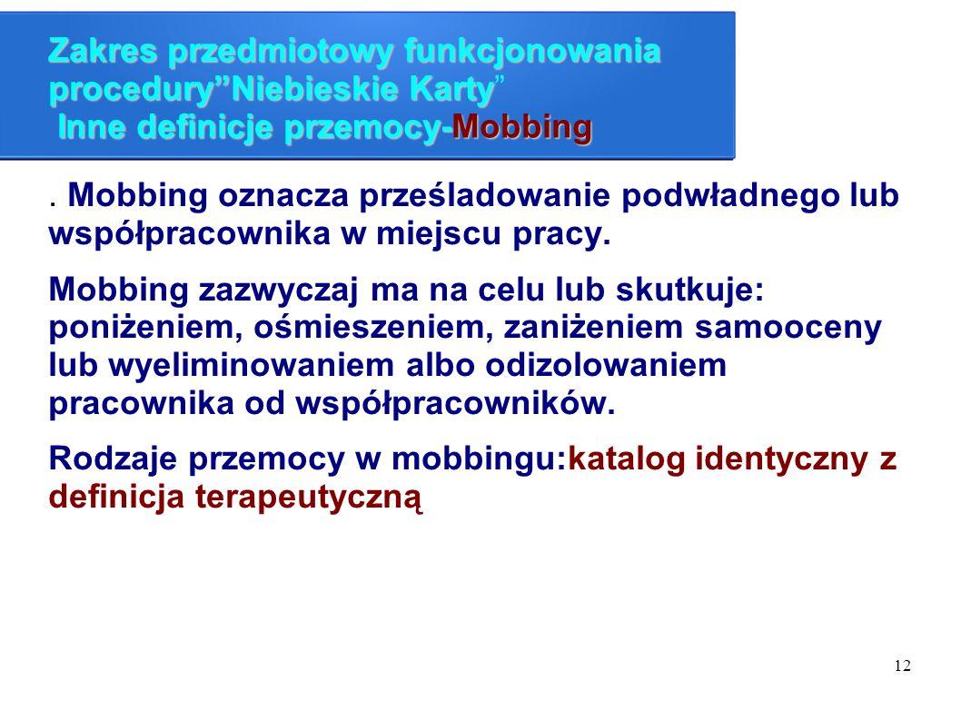 Zakres przedmiotowy funkcjonowania procedury Niebieskie Karty Inne definicje przemocy-Mobbing