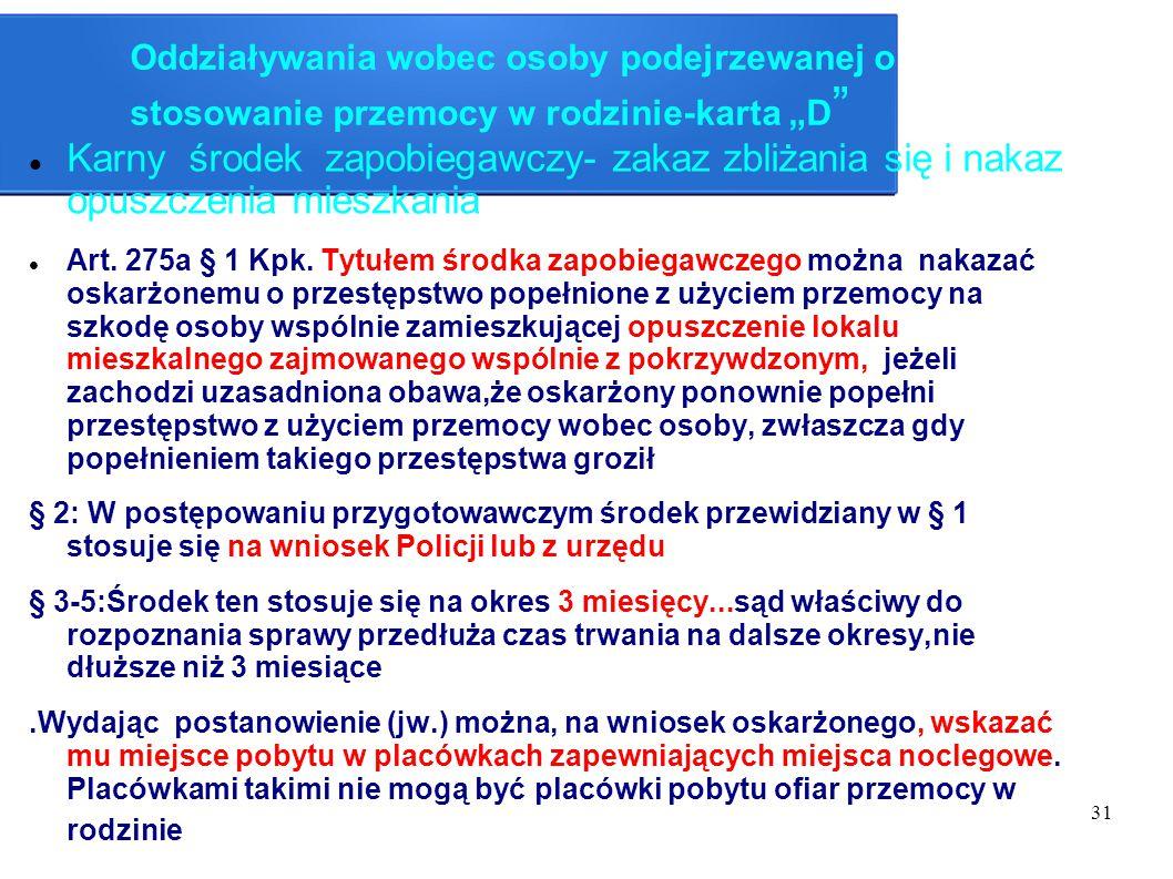 """Oddziaływania wobec osoby podejrzewanej o stosowanie przemocy w rodzinie-karta """"D"""