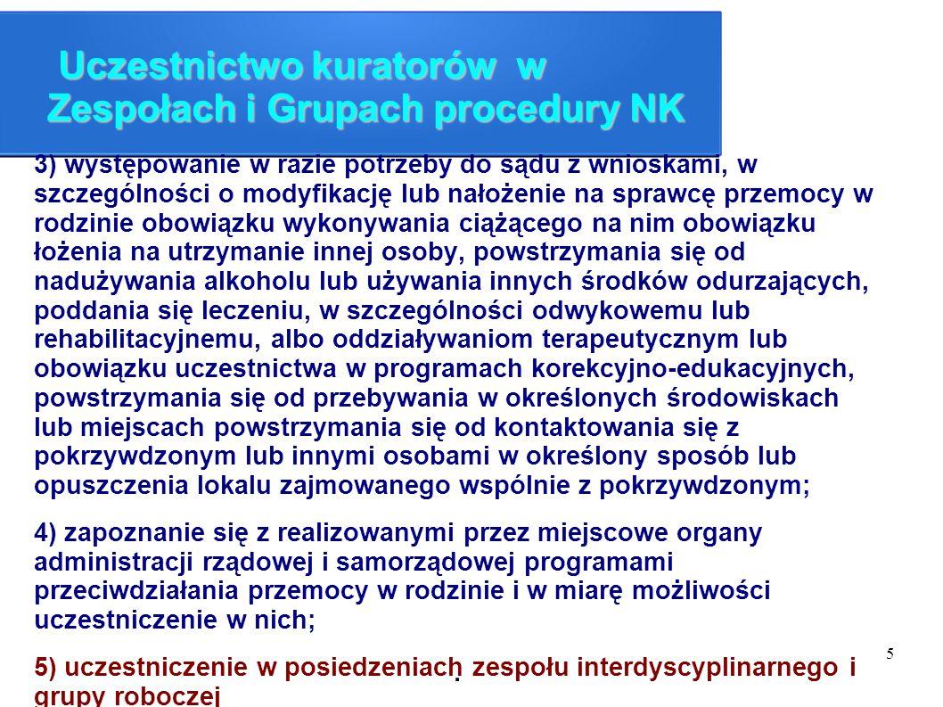 Uczestnictwo kuratorów w Zespołach i Grupach procedury NK
