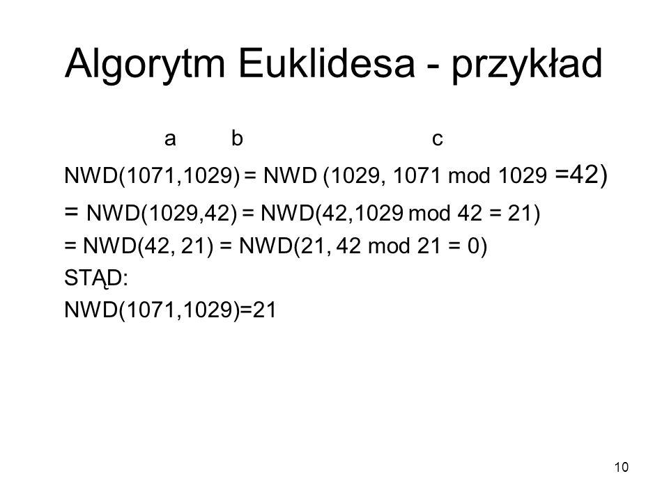 Algorytm Euklidesa - przykład