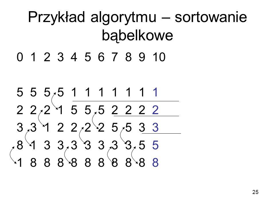 Przykład algorytmu – sortowanie bąbelkowe