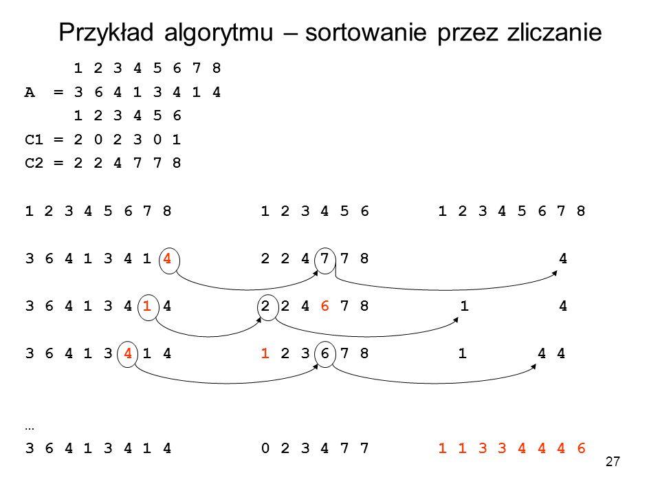 Przykład algorytmu – sortowanie przez zliczanie