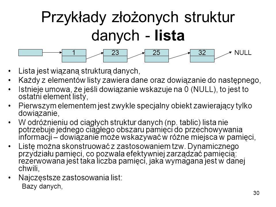 Przykłady złożonych struktur danych - lista
