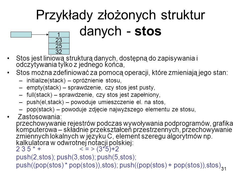Przykłady złożonych struktur danych - stos