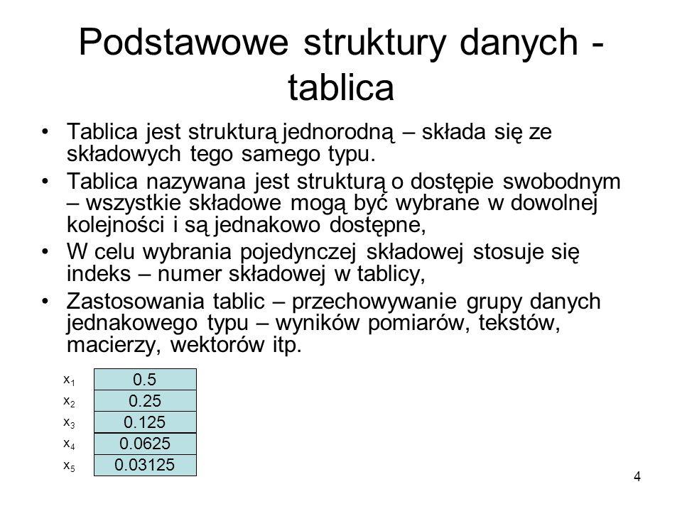 Podstawowe struktury danych - tablica