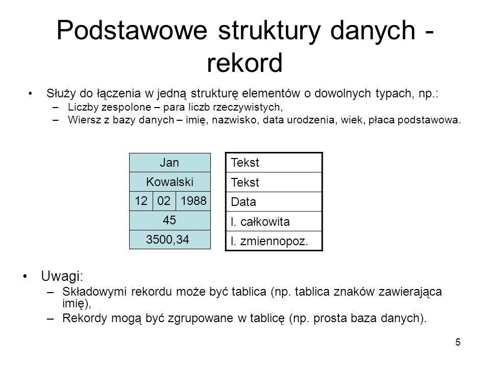 Podstawowe struktury danych - rekord