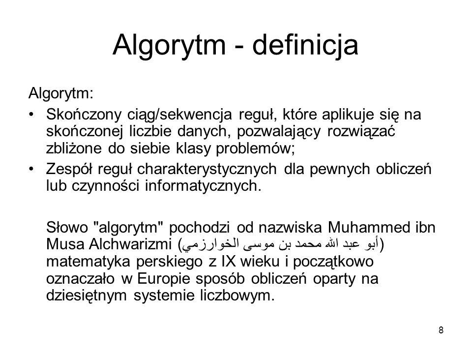 Algorytm - definicja Algorytm:
