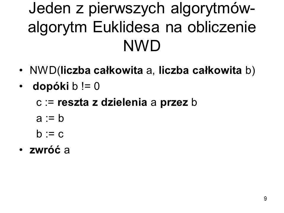 Jeden z pierwszych algorytmów- algorytm Euklidesa na obliczenie NWD
