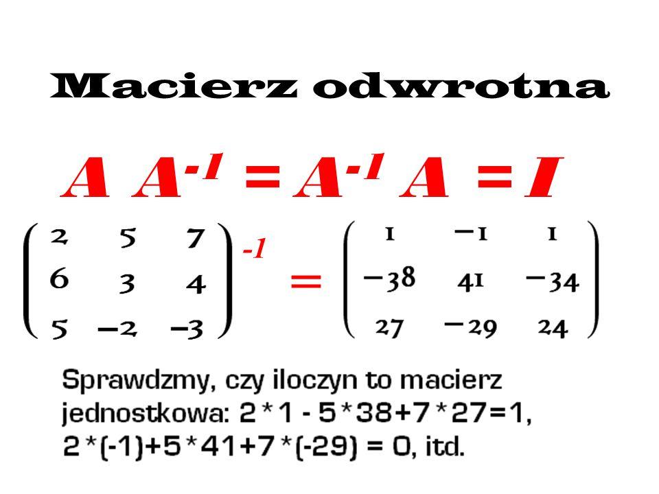 Macierz odwrotna A A-1 = A-1 A = I -1 =