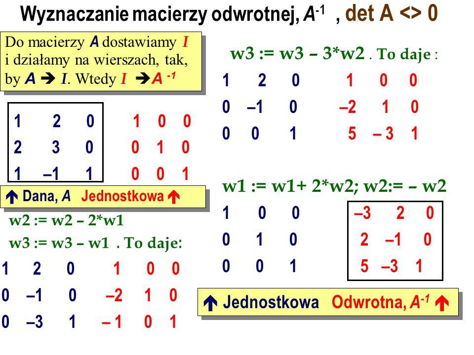 Wyznaczanie macierzy odwrotnej, A-1 , det A <> 0