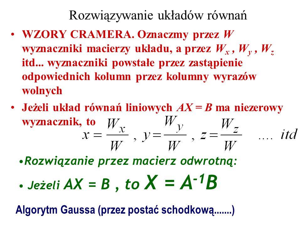 Rozwiązywanie układów równań