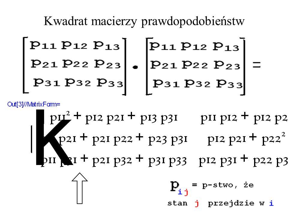 Kwadrat macierzy prawdopodobieństw