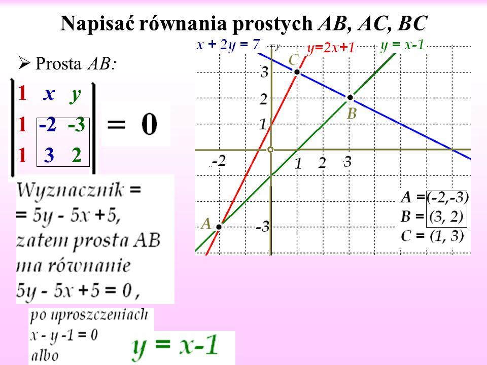 Napisać równania prostych AB, AC, BC