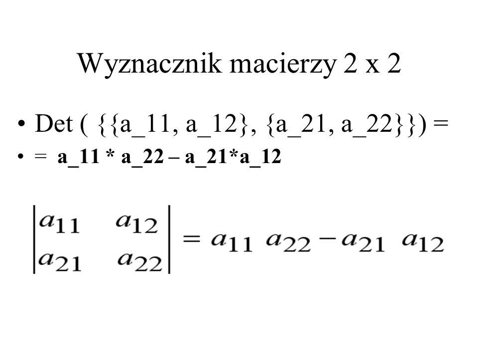 Wyznacznik macierzy 2 x 2 Det ( {{a_11, a_12}, {a_21, a_22}}) =