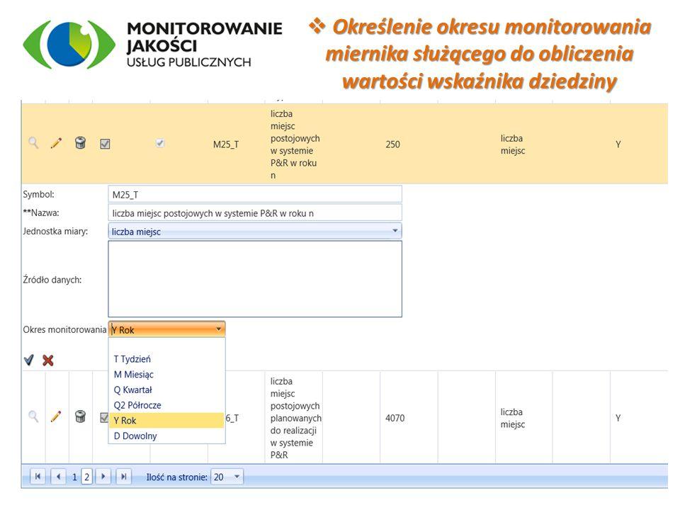 Określenie okresu monitorowania miernika służącego do obliczenia wartości wskaźnika dziedziny